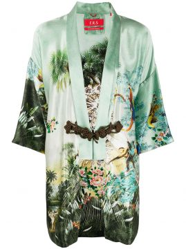 Short Sleeve Printed Silk Robe - F.r.s For Restless Sleepers