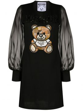 Vestido Com Bordado Teddy Bear - Moschino