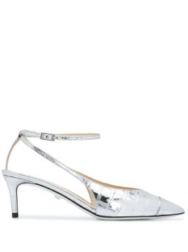 Pointed Metallic-sheen Pumps - Grey Mer