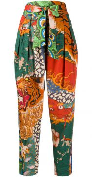 Dragon Print Tapered Trousers - Dsquared2
