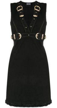 Buckled Denim Mini Dress - Versace Jeans Couture