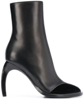 Curved Heel Contrast Panel Boots - Ann Demeulemeester