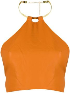 Faux-leather Halter Top - House Of Sunny