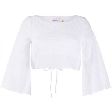 Blusa Cropped Com Bordado - House Of Sunny