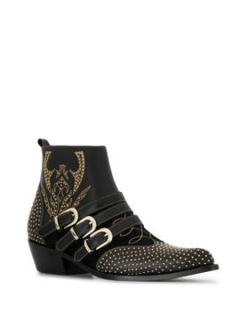 Penny Studded Buckle Ankle Boots - Anine Bing