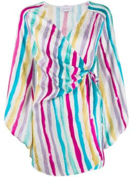 Striped Print Wrap Dress - Art Dealer