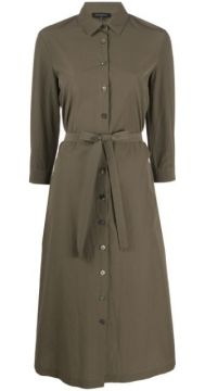 Belted Cotton Shirt Dress - Antonelli