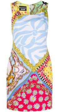 Foulard Mix Print Dress - Boutique Moschino