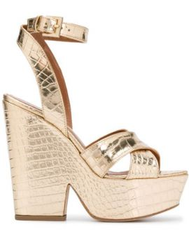 Cross Strap Wedge Heels - Paris Texas