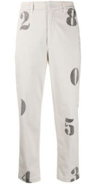 Number Print Cropped Trousers - Dondup