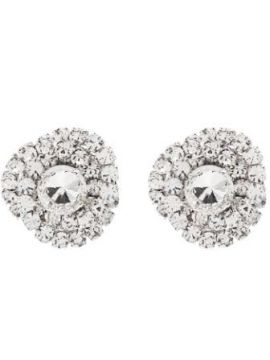 Torchon Silver-tone Crystal Earrings - Alessandra Rich