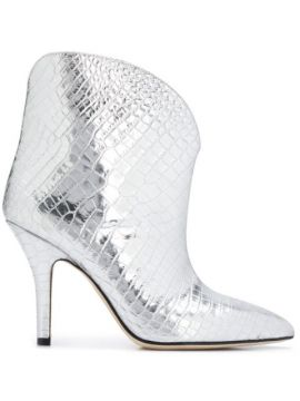 Metallic Embossed Ankle Boots - Paris Texas