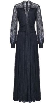 Lace Embroidered Sheer Sleeve Dress - Pinko