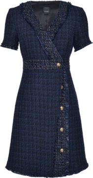 Tweed Style Embossed Button Detail Shift Dress - Pinko