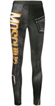 Faux Leather Logo Print Leggings - Moschino
