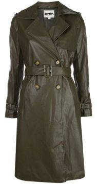 Faux Leather Trench Coat - Apparis