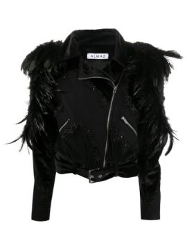 Feather-embellished Fitted Jacket - Almaz