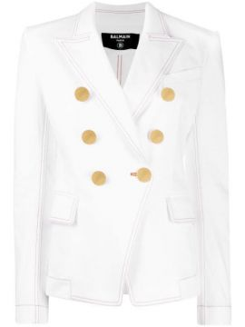 Double-breasted Denim Blazer - Balmain