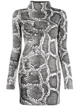 Snakeskin-effect Fitted Dress - Just Cavalli