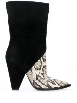 Snakeskin-effect Contrast Boots - Just Cavalli
