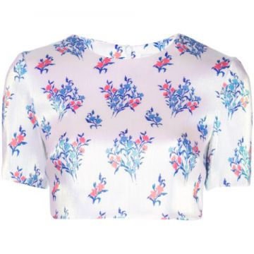 Cropped Floral Print T-shirt - Area