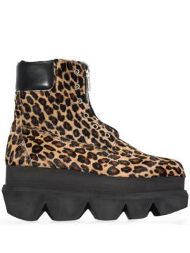 Ankle Boot Com Estampa De Leopardo - Sacai