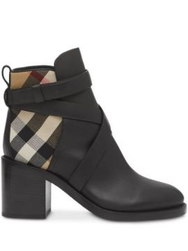 Vintage Check Panel Ankle Boots - Burberry