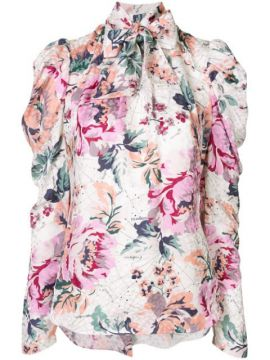 Floral Charts Pussy-bow Shirt - Ginger & Smart