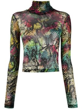 Abstract-print High-neck Top - Just Cavalli