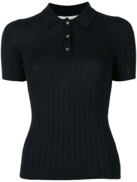 Ribbed Merino Wool Polo Top - Dion Lee