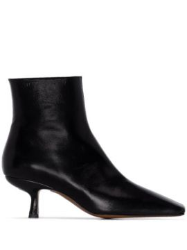 Black Lange 50 Creased Leather Ankle Boots - By Far