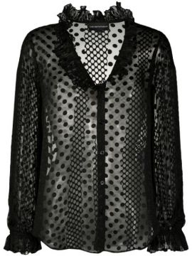 Sheer Polka Dot Patterned Blouse - Emporio Armani