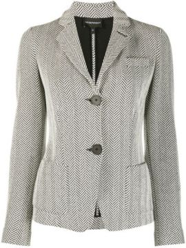 Zigzag Patterned Notched Lapel Blazer - Emporio Armani