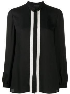 Contrast Panel Concealed Button Blouse - Emporio Armani