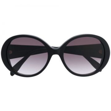 Round Frame Oversized Sunglasses With Gold Logo Lettering -