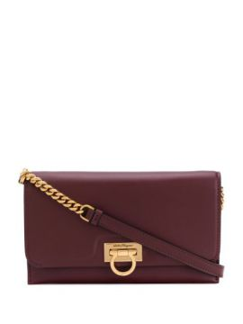Gancini Fastening Calf Leather Cross Body Bag With Chain - S