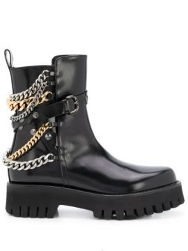 Chain Embellished Ankle Boots - Casadei