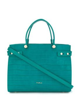 Lady M Crocodile-embossed Tote Bag - Furla