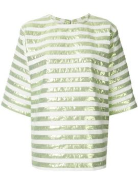 Short-sleeved Striped Square Top - Bambah