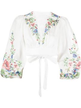 Floral Embroidered Cropped Top - Zimmermann