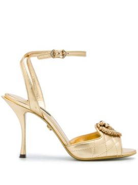 Metallic Strappy Leather Sandals - Dolce & Gabbana