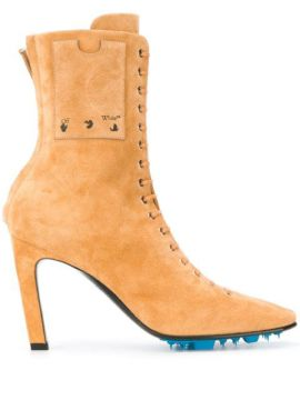 Velour High Heel Ankle Boots Beige No C - Off-white