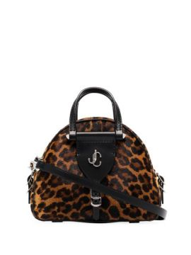 Black Vareene Leopard Mini Bowling Bag - Jimmy Choo