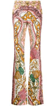 High-waisted Graphic-print Trousers - Moschino