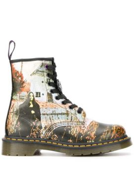Photographic Print Lace-up Boots - Dr. Martens