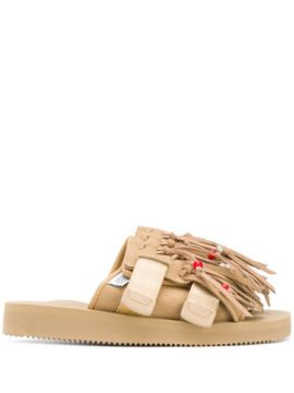 Fringed Suede Slippers - Suicoke