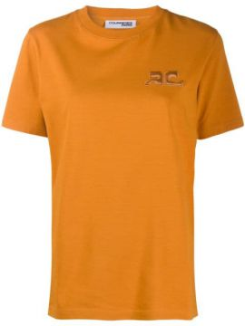 Camiseta Decote Careca Com Logo Bordado - Courrèges