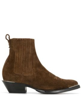 Stitch-embellished Ankle Boots - Ash