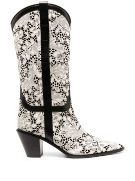 Perforated Floral Boots - Casadei