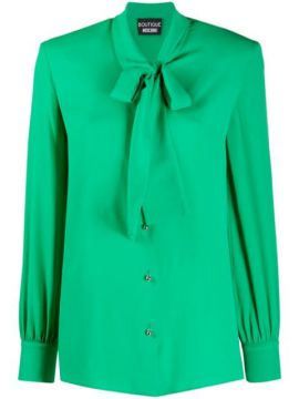 Tie-neck Long-sleeved Shirt - Boutique Moschino